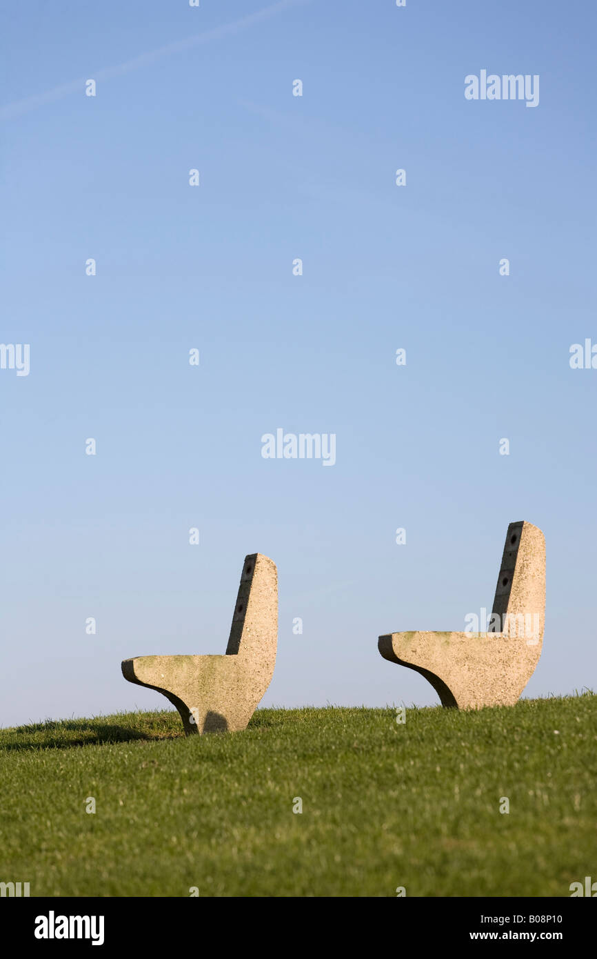 Disassembled bench on grass, North Frisia, Schleswig Holstein, Northern Germany - Stock Image