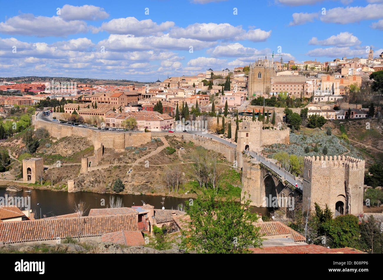 View of the old part of Toledo and the Tajo River, Puente de San Martín in the foreground, Toledo, Spain Stock Photo