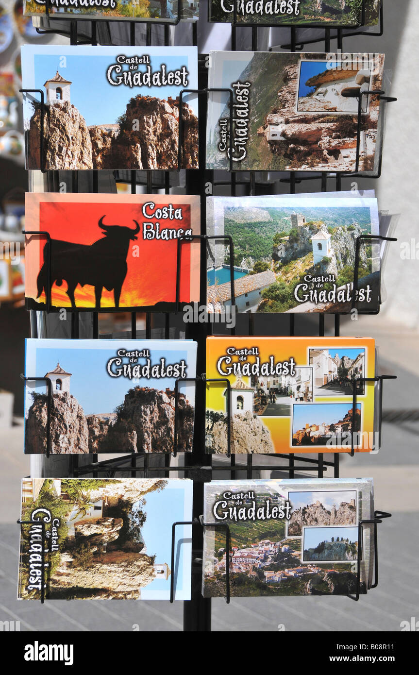 Postcard stand, Guadalest, Costa Blanca, Spain - Stock Image