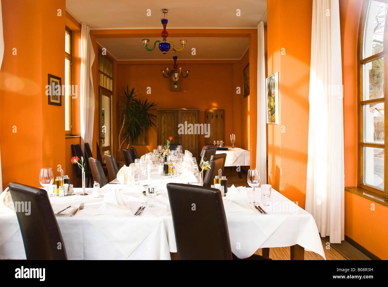 Set tables, Lido Lounge in Klagenfurt, Carinthia, Austria Stock Photo