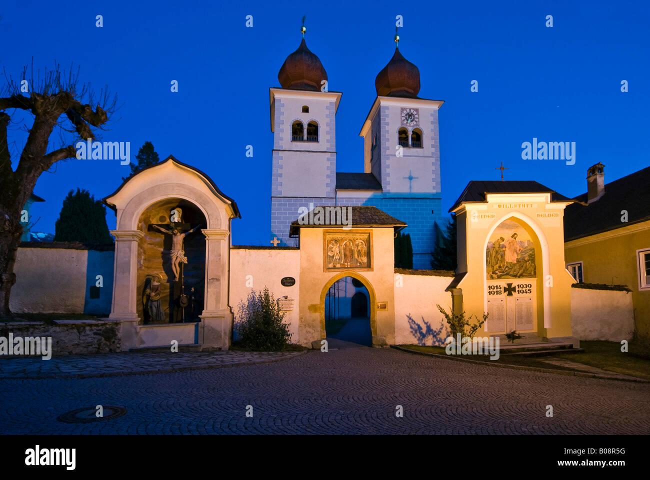 Stift Millstatt Church at night, Millstatt, Carinthia, Austria - Stock Image