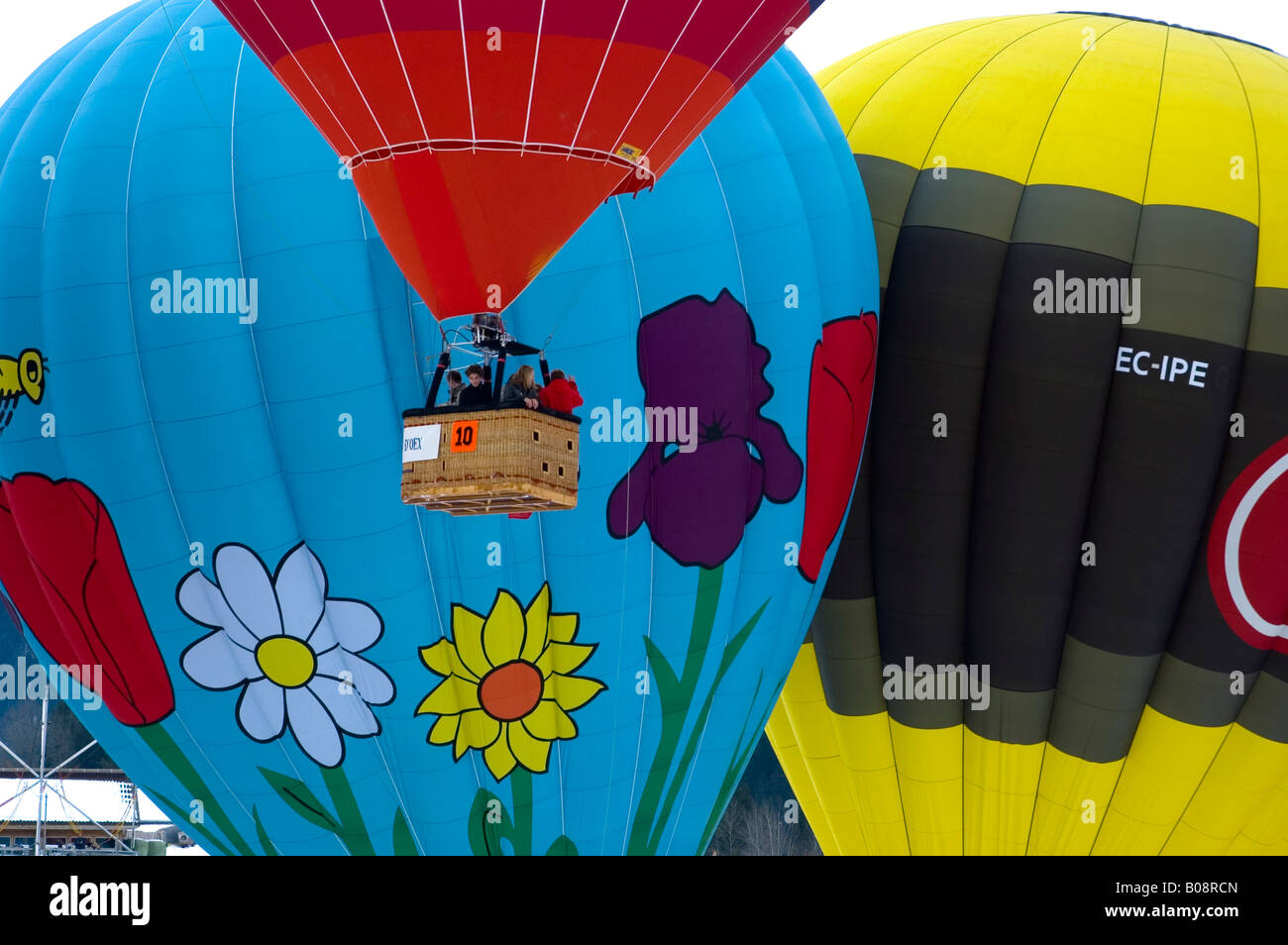 Hot air balloons, International Balloon Festival in Château-d'Oex, Vaud, Switzerland Stock Photo