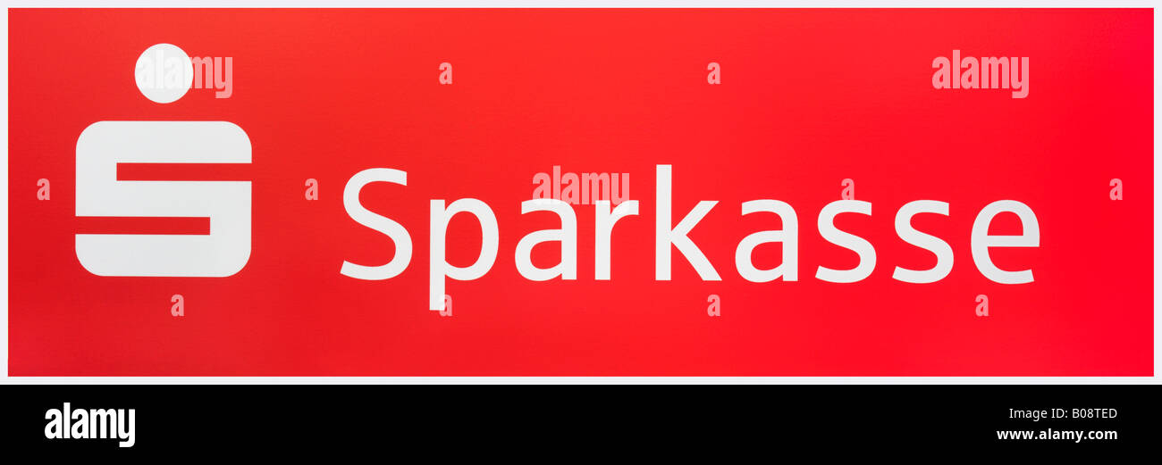 Sparkasse bank logo and name - Stock Image