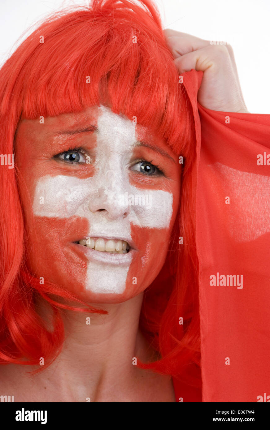 woman as Switzerland football fan, tearing at her hair - Stock Image