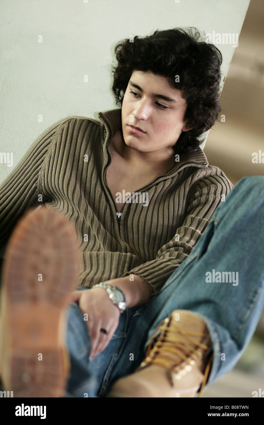 Teenager Boy Relaxing Sitting Leaning Bored Stock Photos