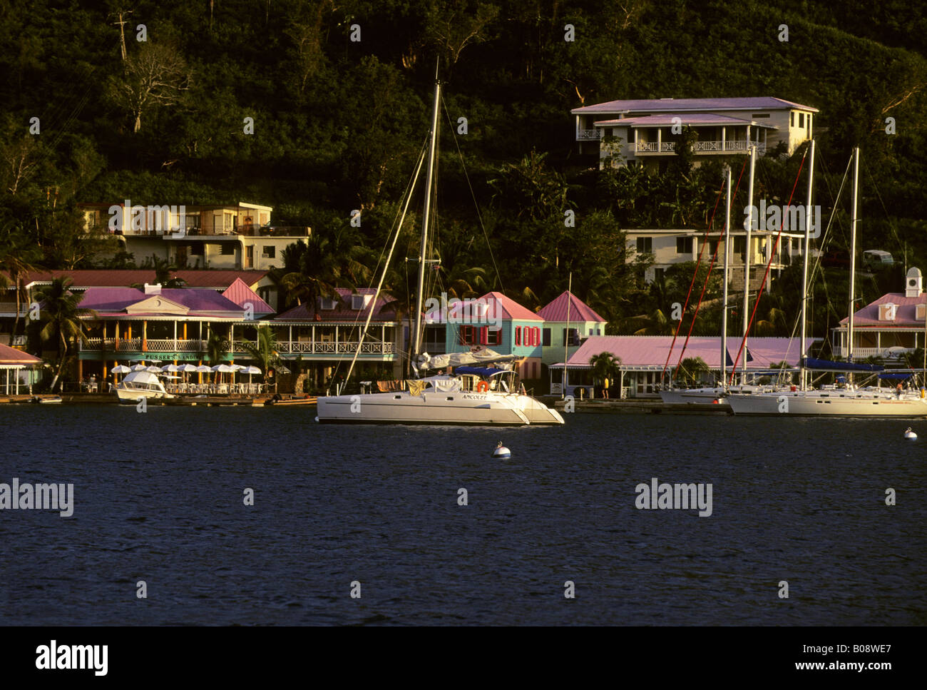Yachts, Frenchman's Cay Island, British Virgin Islands, Lesser Antilles, Caribbean - Stock Image