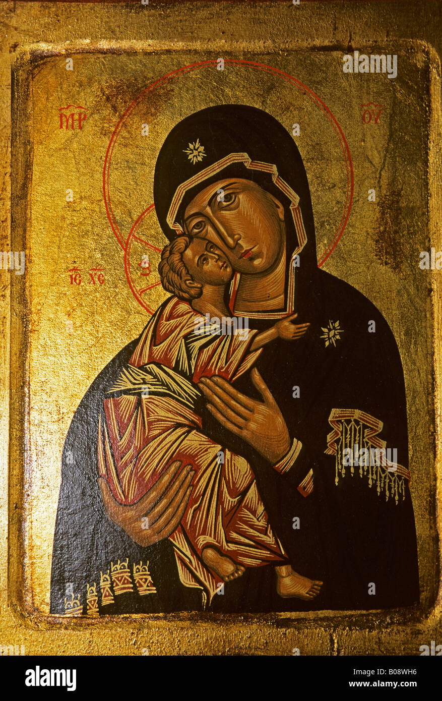 Icon painting of the Virgin Mary holding baby Jesus, Cyprus - Stock Image