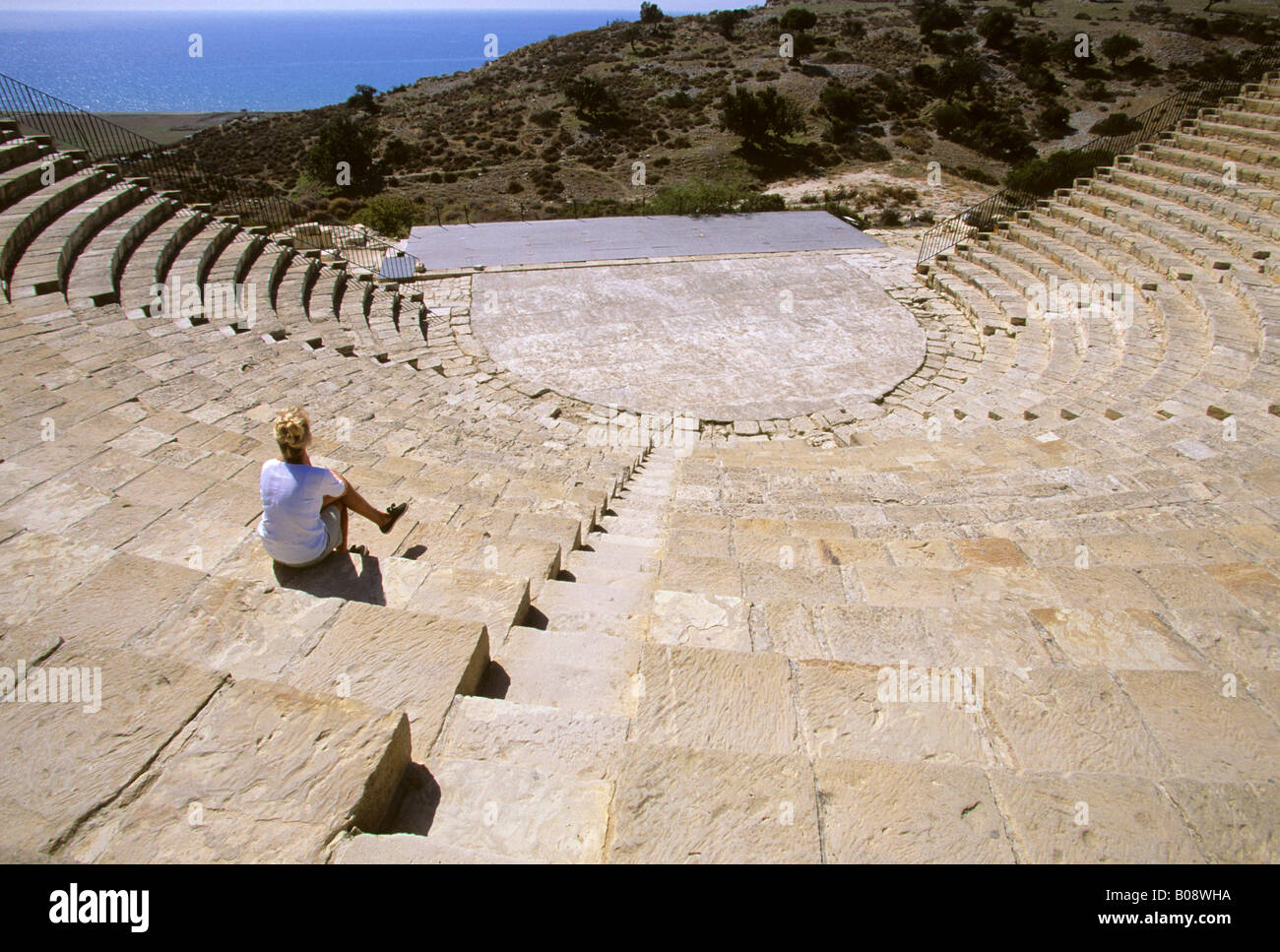 Greco-Roman amphitheatre in Kourion on the Akrotiri Peninsula, Cyprus - Stock Image