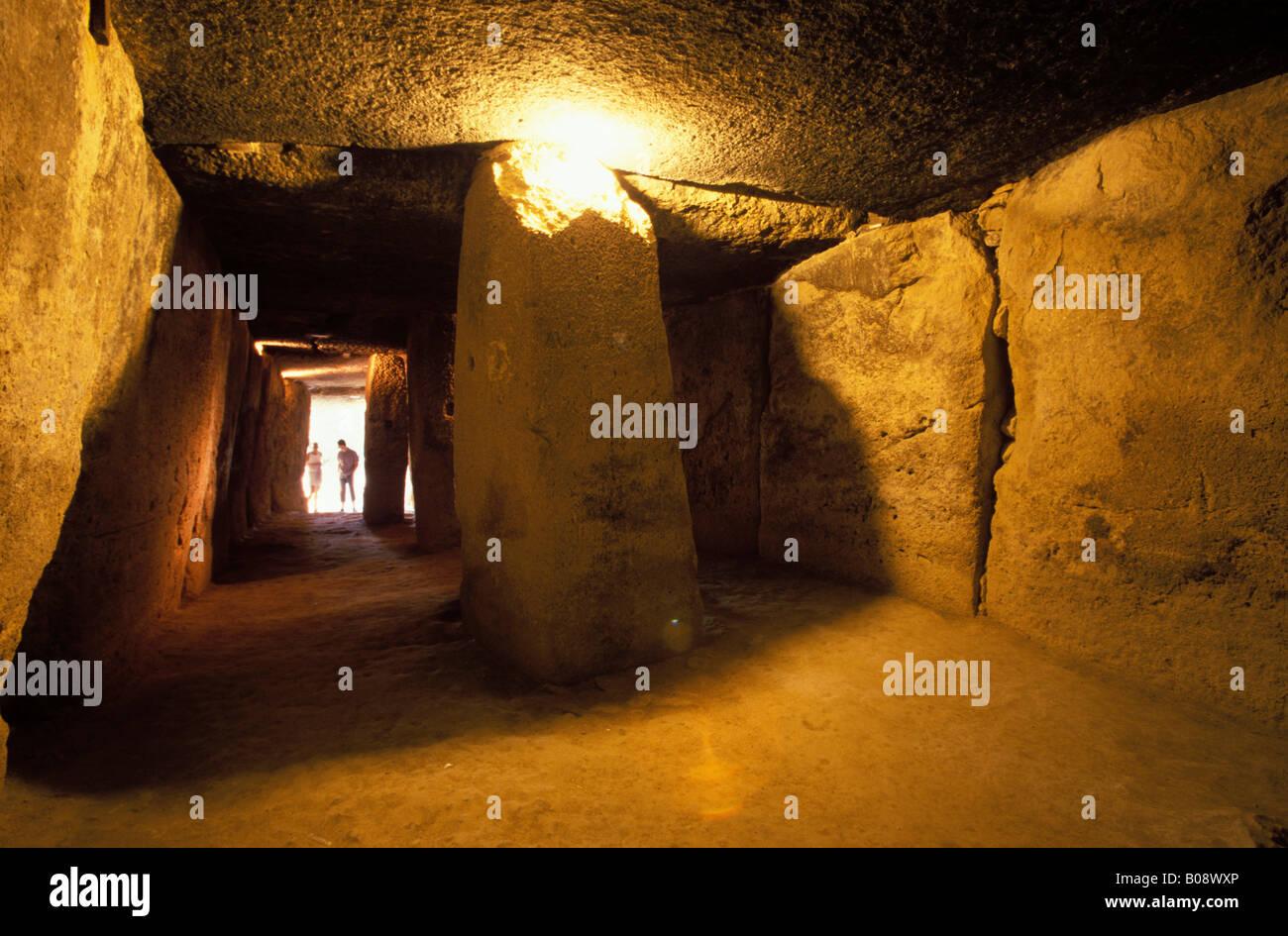 Dolmen de Menga, bronze-age burial chamber (dolmen), Antequera, Málaga Province, Andalusia, Spain - Stock Image