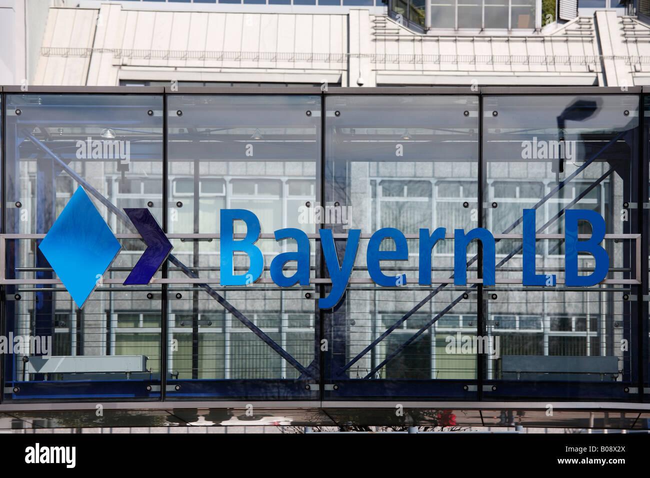 Sign for Bayern LB, Bayerische Landesbank (Bavarian State Bank), Munich, Bavaria, Germany - Stock Image