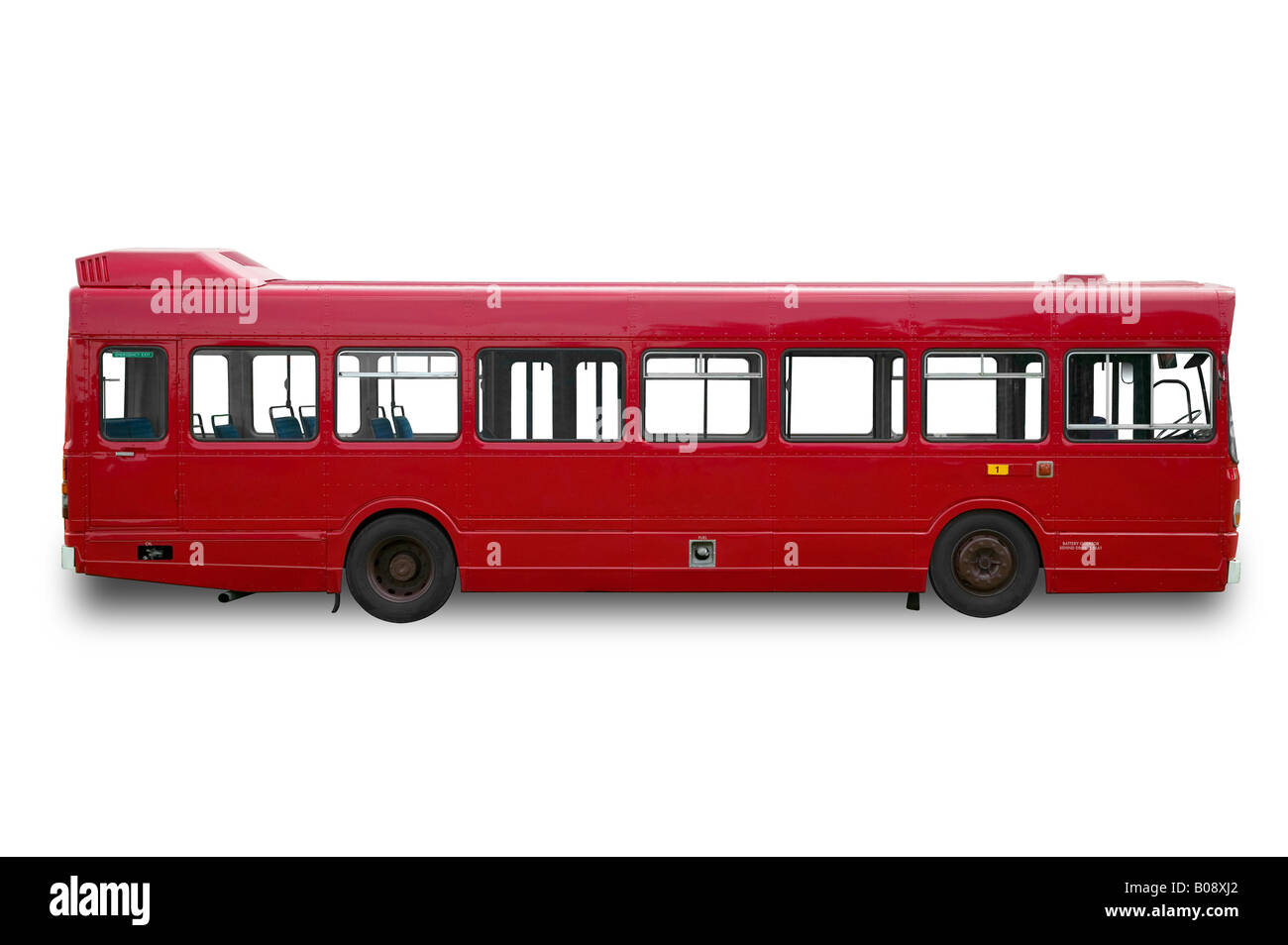 Red single deck bus coach isolated on a white background - Stock Image