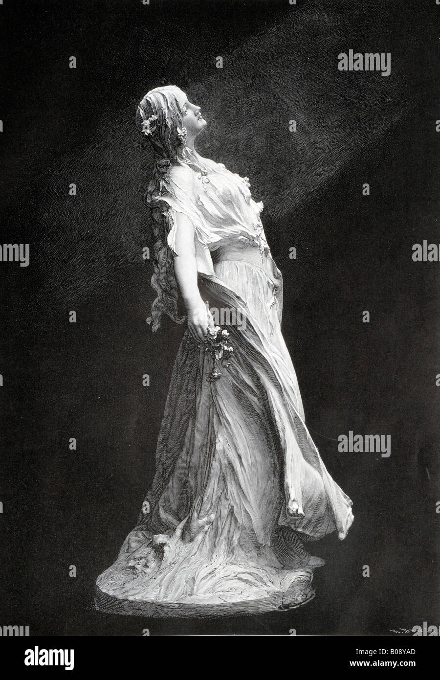 'Ophelie, ' woodcut depicting Ophelia from 'Moderne Kunst in Meisterholzschnitten' 1903 - Stock Image