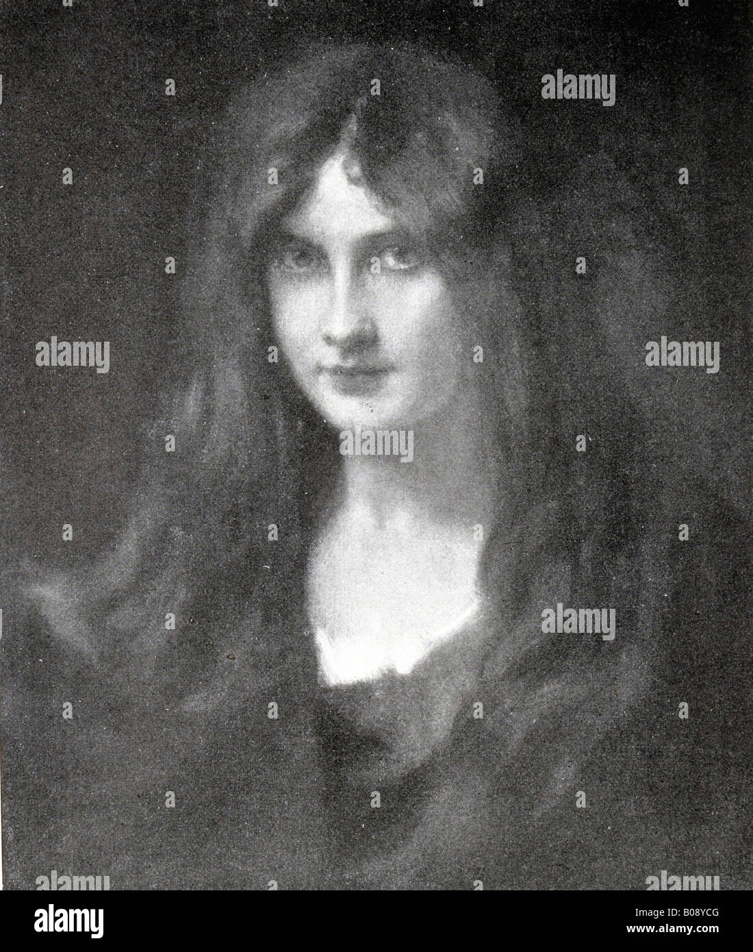 """Maedchenkopf"" (""Girl's Head""), woodcut from ""Moderne Kunst in Meisterholzschnitten"" 1903 Stock Photo"