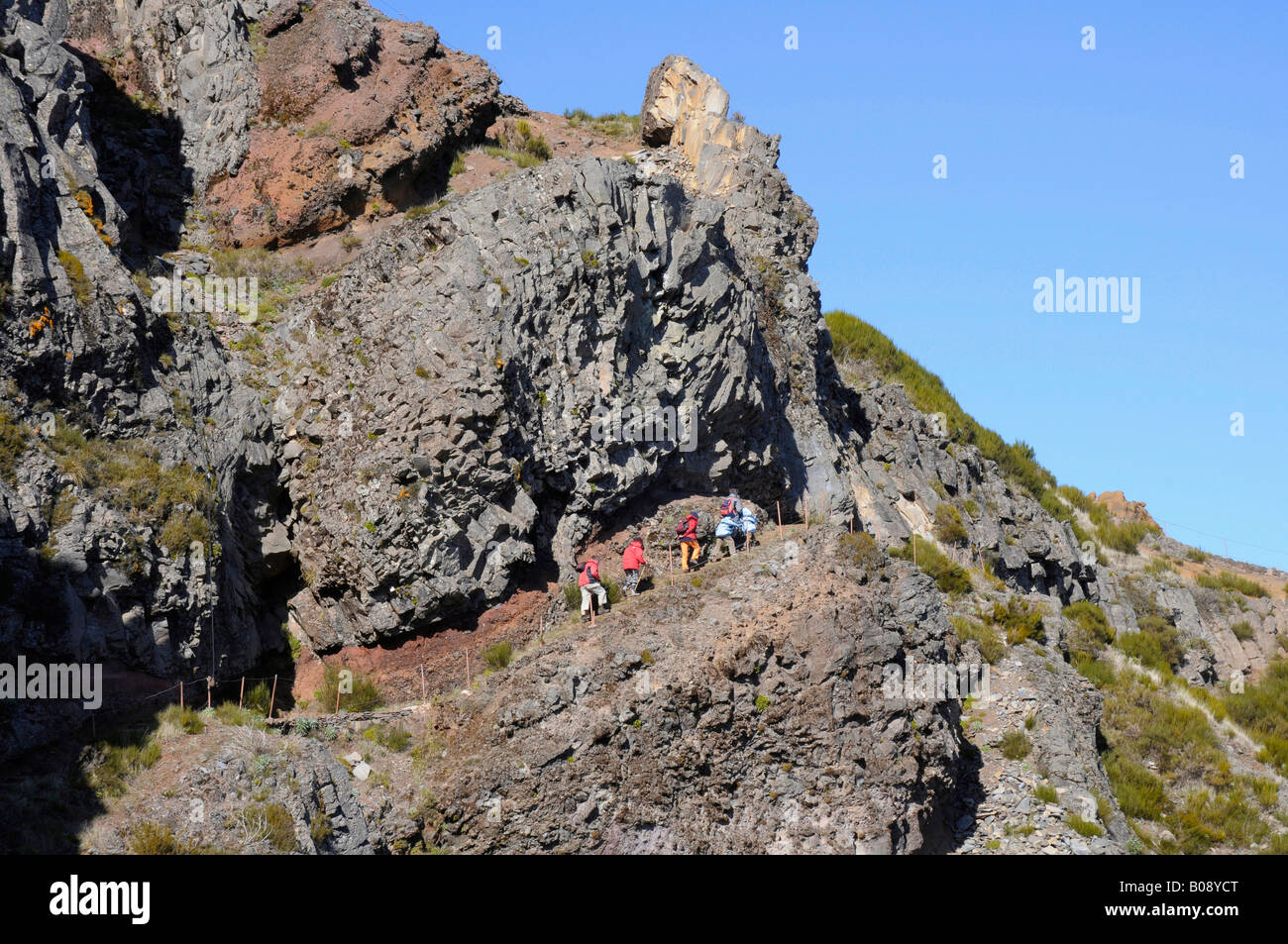 Hikers in mountain landscape, central mountains, Madeira, Portugal - Stock Image