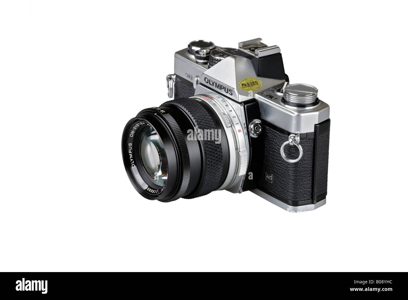 Analog single-lens reflex camera, SLR with standard lens, cutout - Stock Image