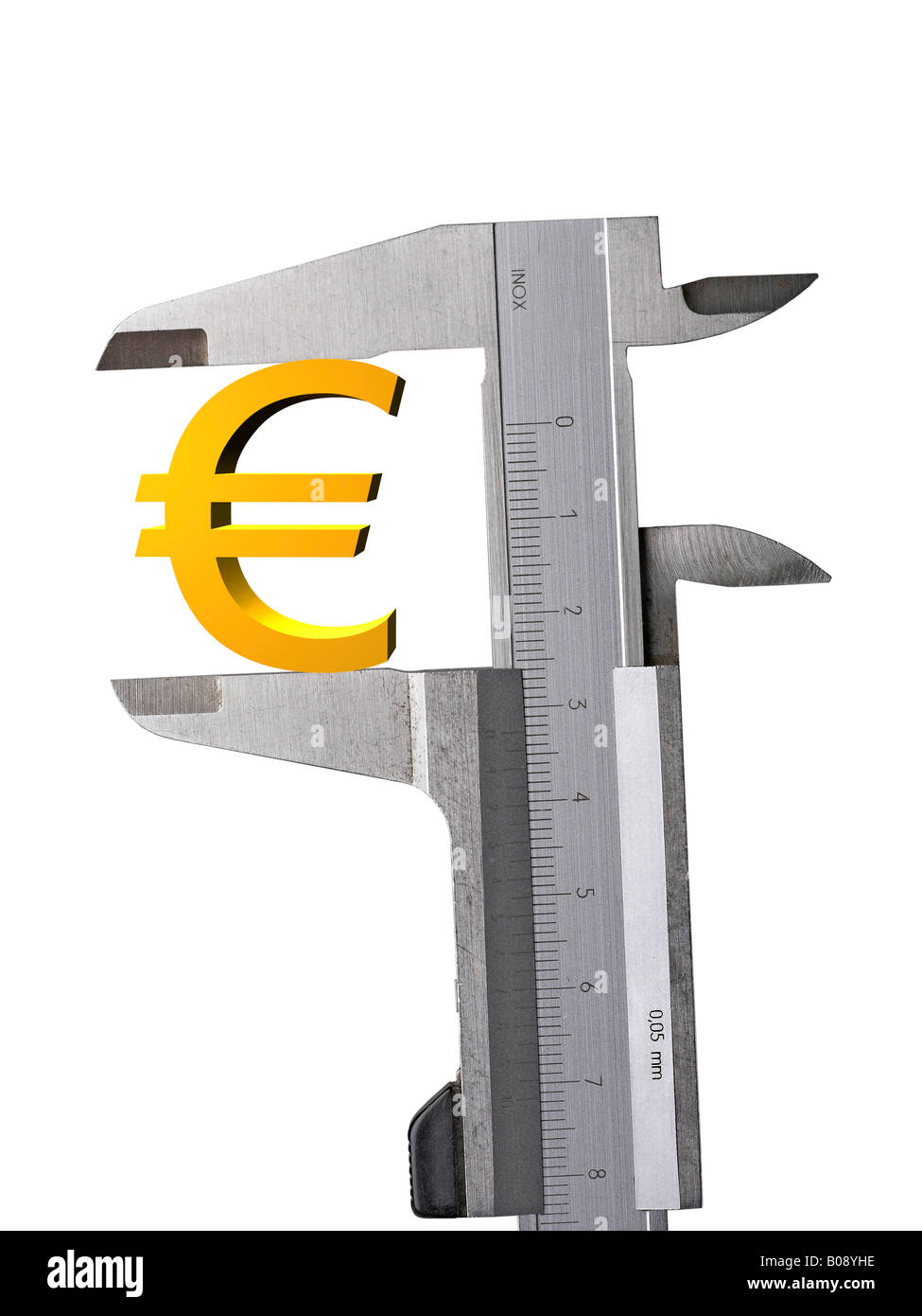 Euro symbol held between a calliper, cutout - Stock Image