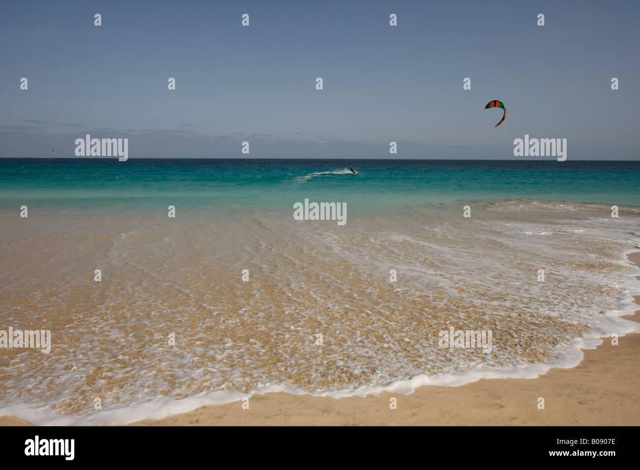 Kitesurfer, Santa Maria, Sal Island, Cape Verde, Africa Stock Photo