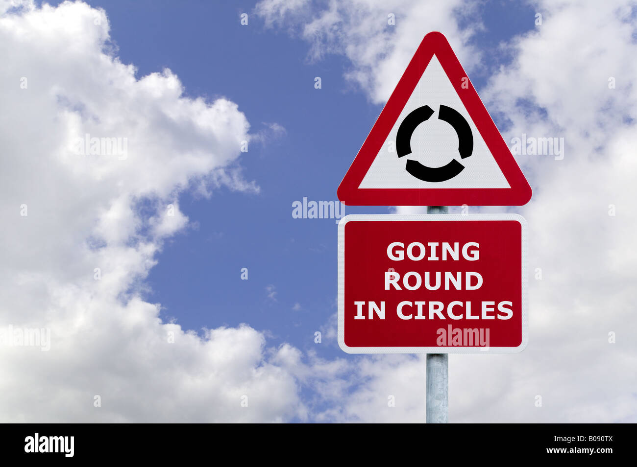 Concept image of the saying Going round in Circles signpost against a blue cloudy sky - Stock Image