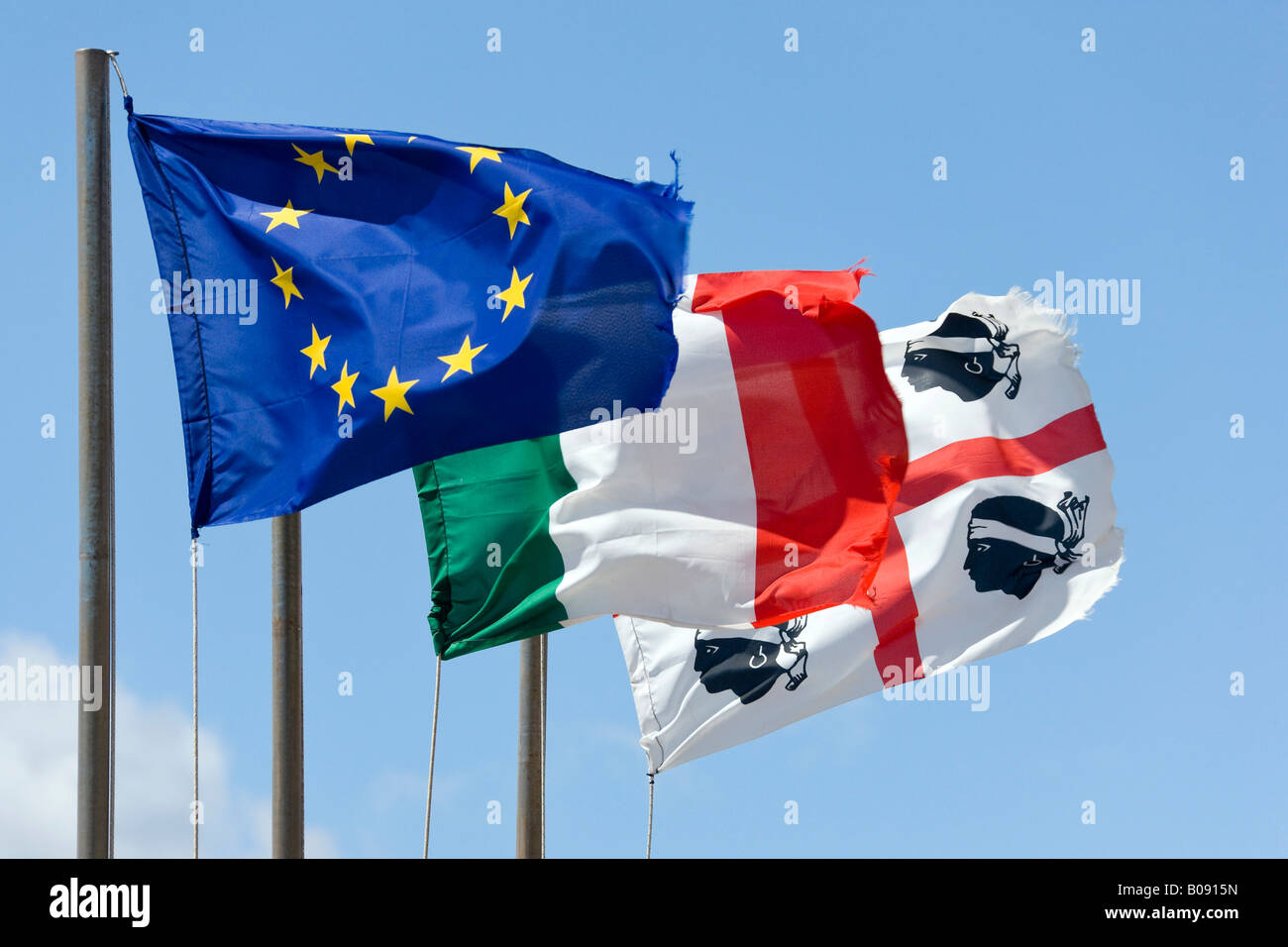 European Union, Italian and Sardinian flags, Cala Gonone, Sardinia, Italy - Stock Image