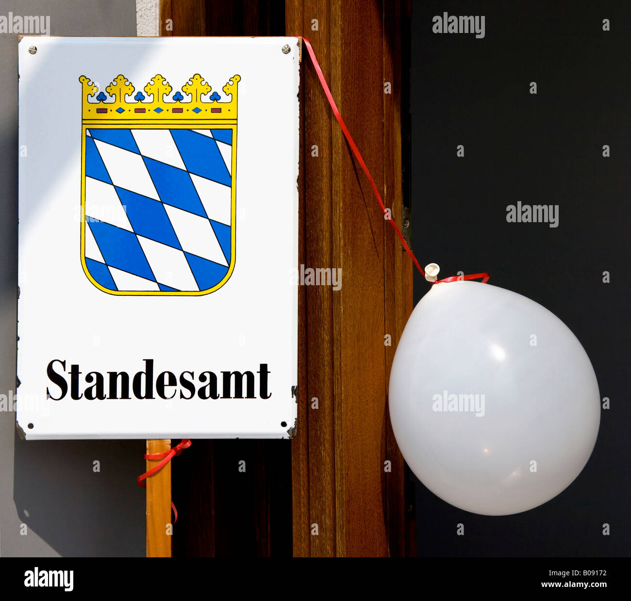 Baloon and Bavarian civil registry office sign - Stock Image