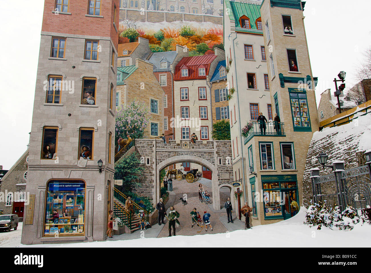 Painting On A Wall Winter Snow Quebec City Quebec Canada Stock