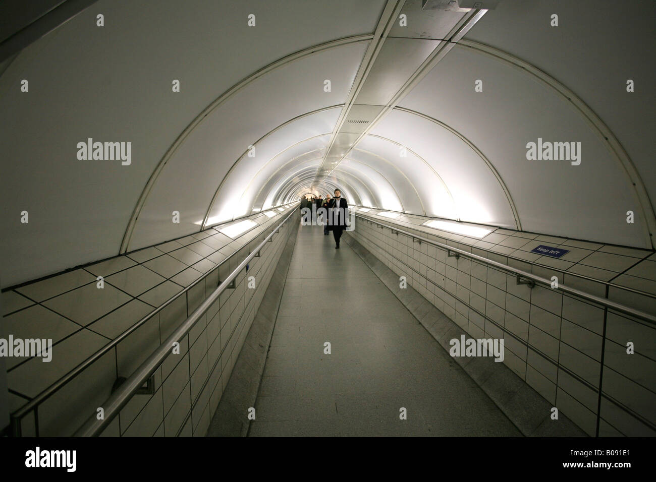 Connecting tunnel inside Waterloo tube station to the Waterloo and City Line, London, England, UK - Stock Image