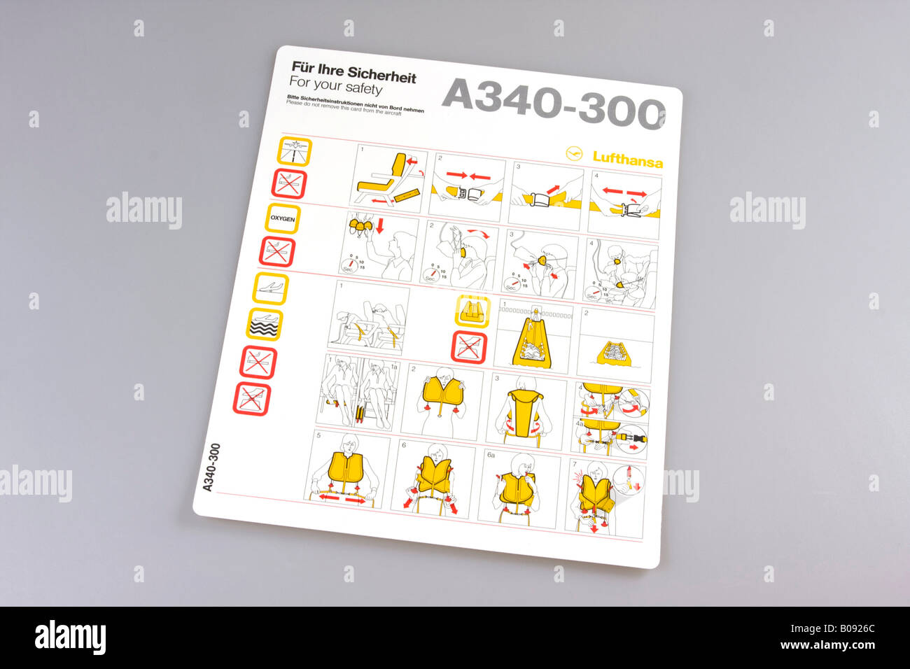 Lufthansa safety card, safety instructions for the Airbus A340-300 - Stock Image