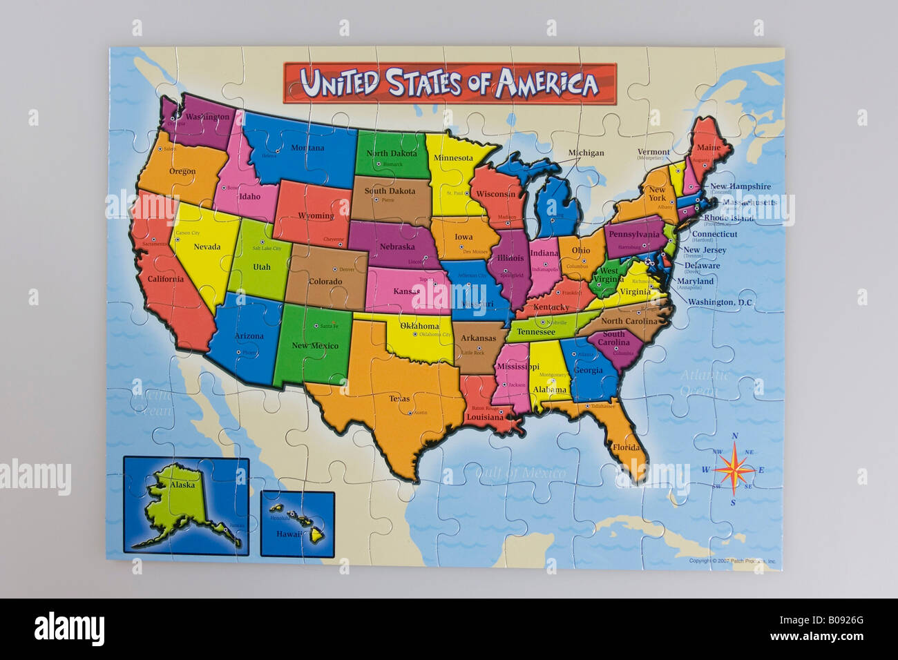 Puzzle Map Of The United States.Puzzle Map Of The United States Of America Usa Stock Photo