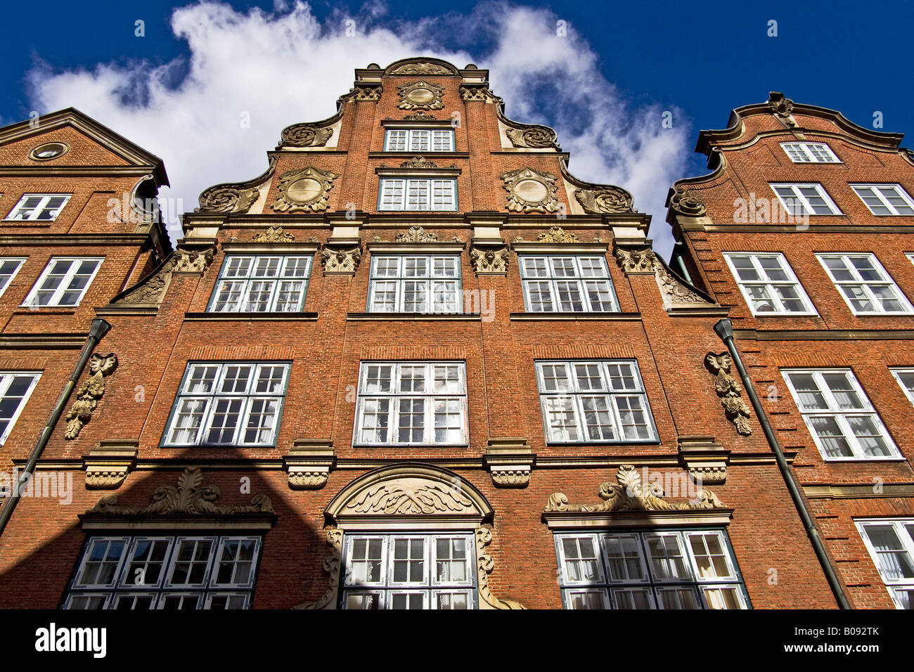 Historic red brick multi-story buildings in the Neustadt, New Town District, Hamburg, Germany - Stock Image