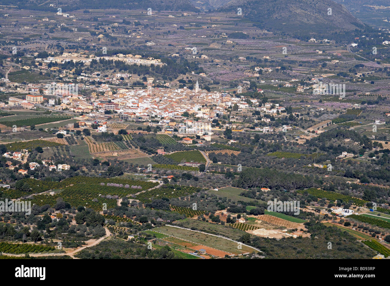 View of the village of Parcent, Coll de Rates, Tarbena, Alicante, Costa Blanca, Spain - Stock Image