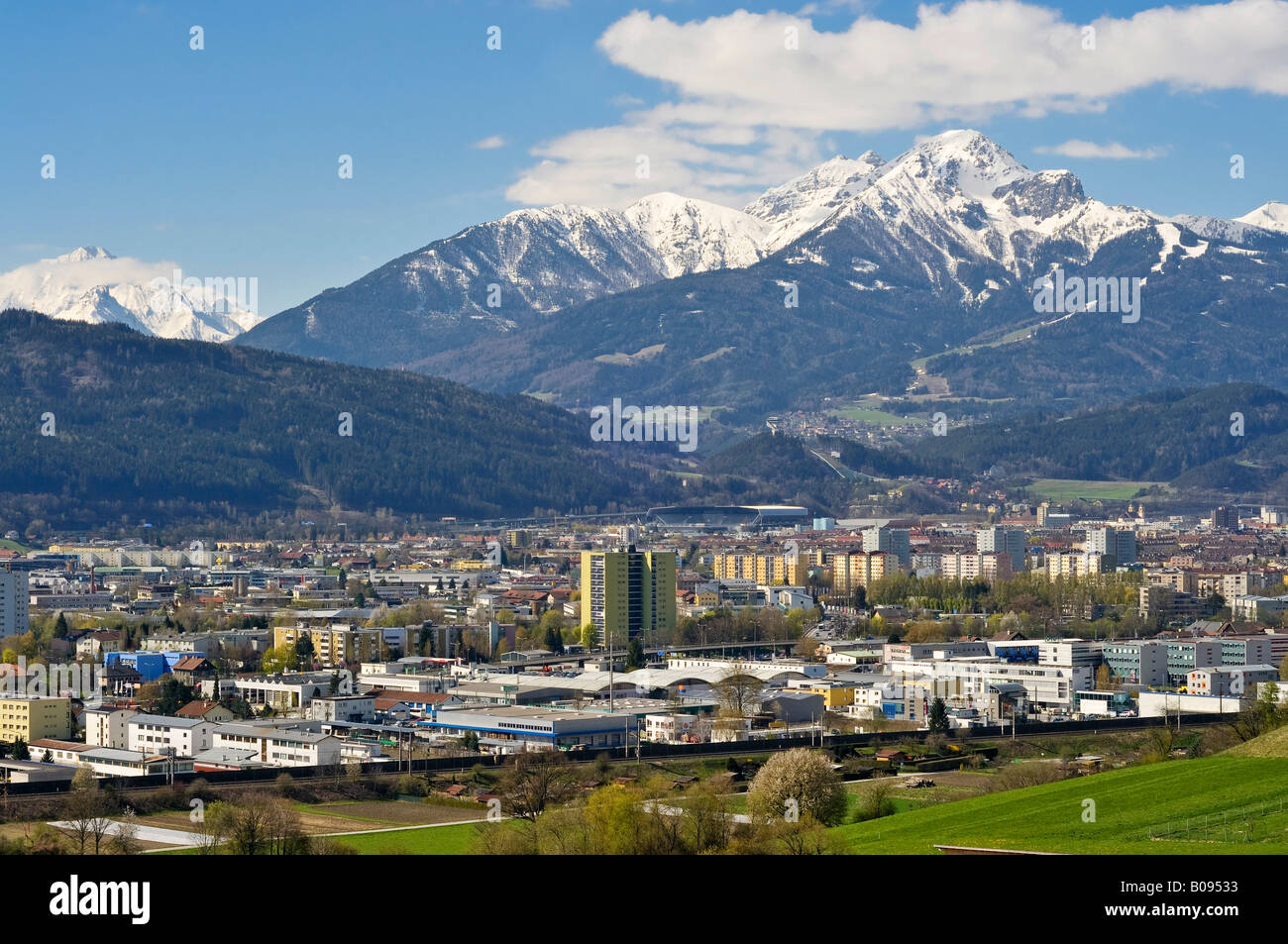 view of innsbruck and snow capped mt serles mt nockspitze mt stock photo 17411943 alamy. Black Bedroom Furniture Sets. Home Design Ideas