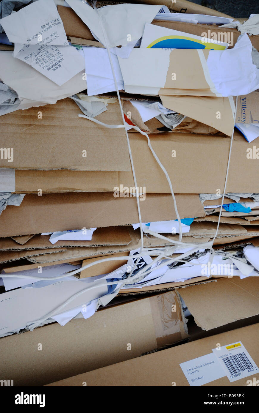 Paper tied up for recycling - Stock Image