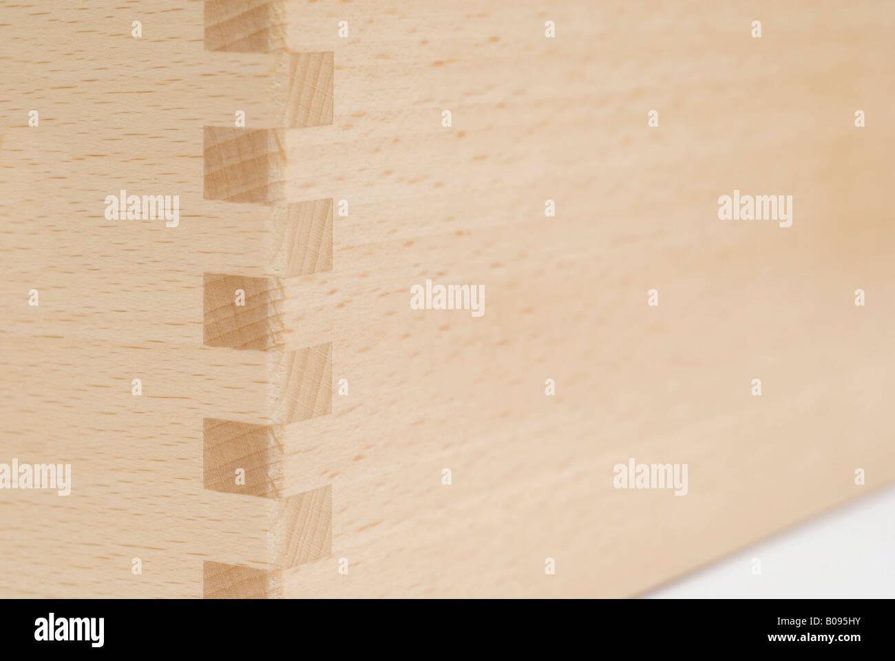 Dowel Joint Of Beechwood Boards Stock Photo 17412359 Alamy