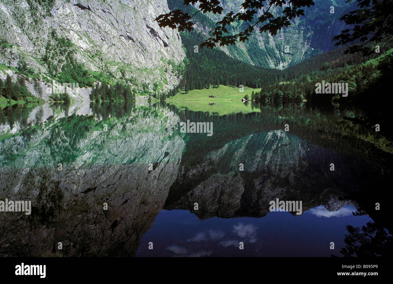 Lake Obersee, Nationalpark Berchtesgaden (Berchtesgaden National Park), Berchtesgadener Alpen (Berchtesgaden Alps), Stock Photo
