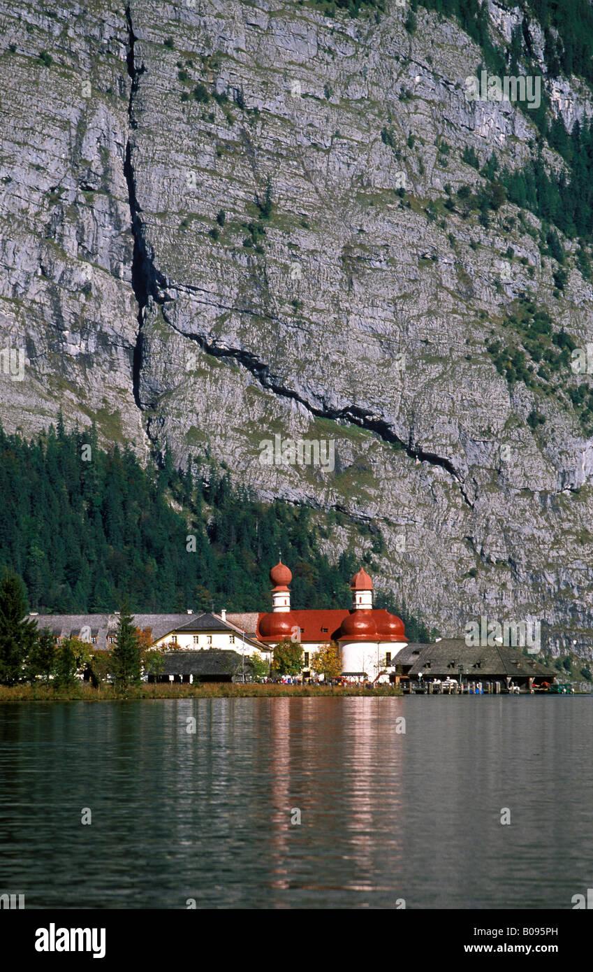 St. Bartholomae, Lake Koenigssee, Nationalpark Berchtesgaden (Berchtesgaden National Park), Berchtesgaden region, Stock Photo