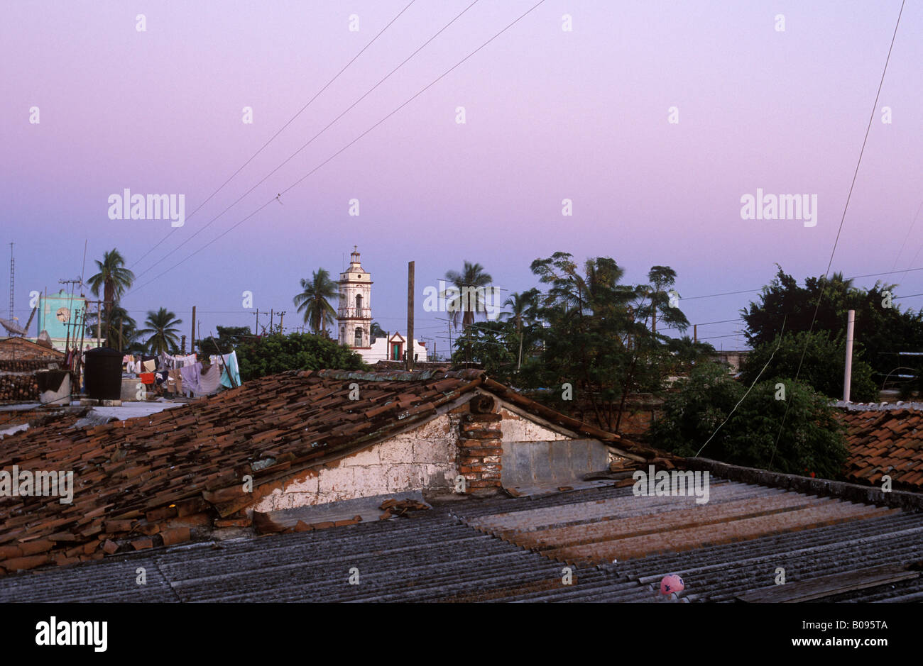 View over the rooftops of Mexcaltitan, Nayarit, Mexico - Stock Image