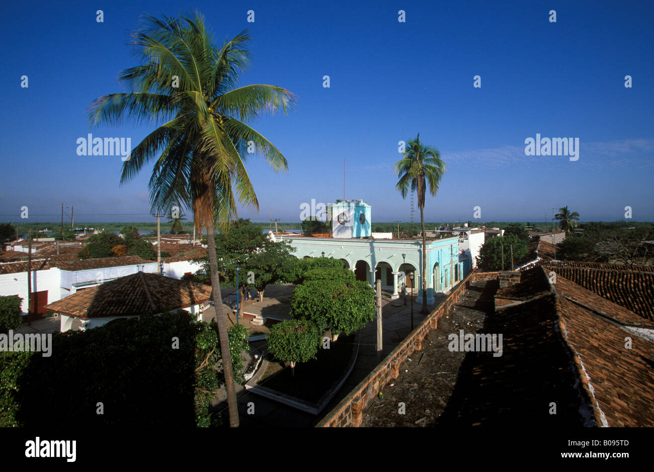 Rooftops of Mexcaltitan viewed from church tower, Nayarit, Mexico - Stock Image
