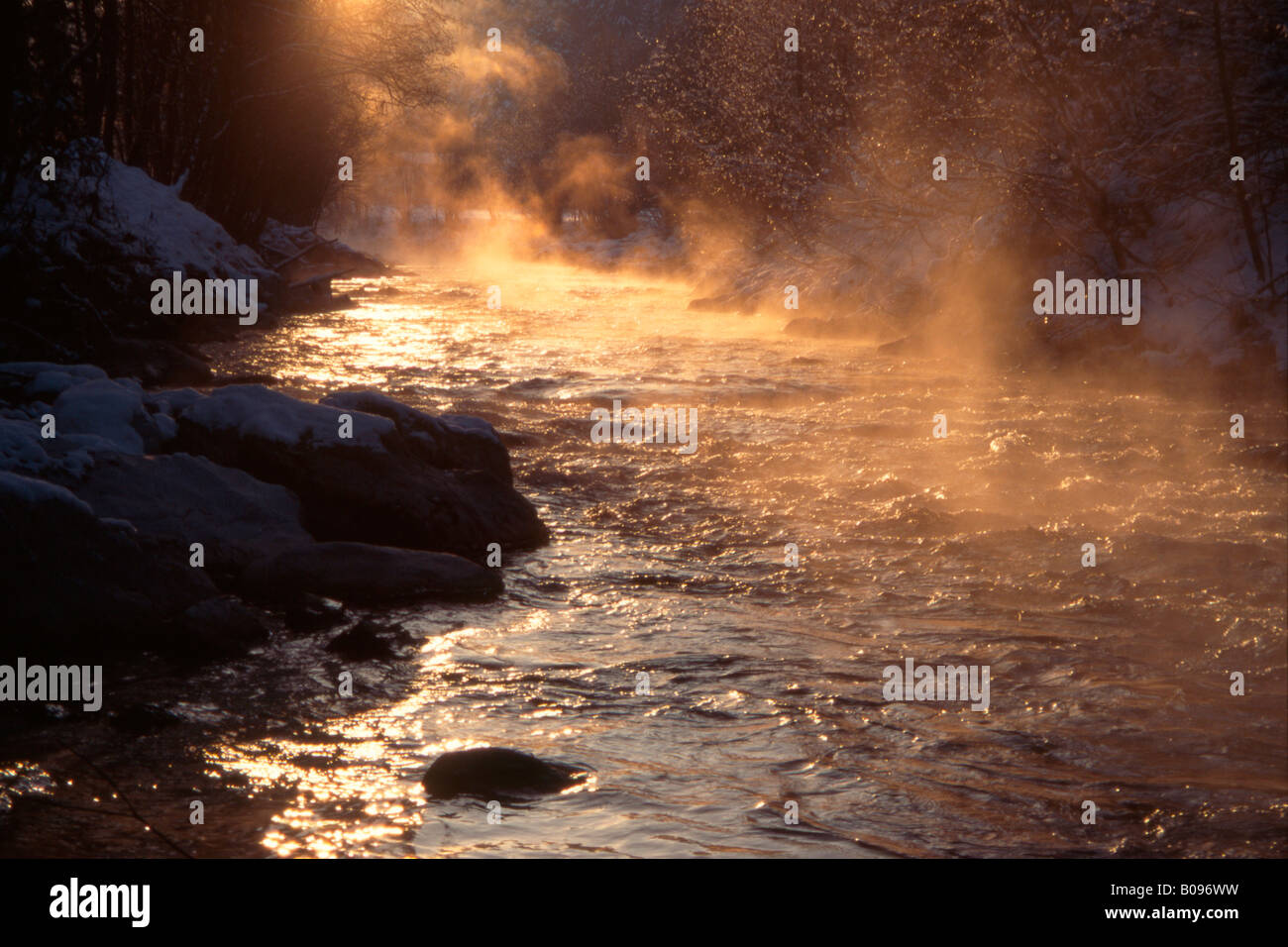 Mist rising from a stream in Tirol, Austria Stock Photo