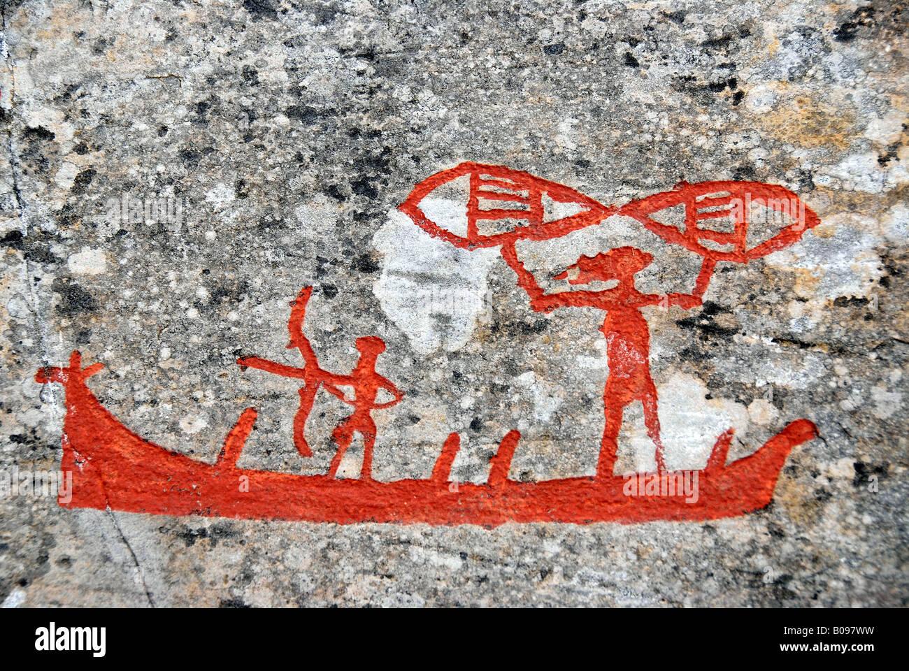 Vikings in a ship, rock painting, rock art at Alta, Norway, Scandinavia - Stock Image