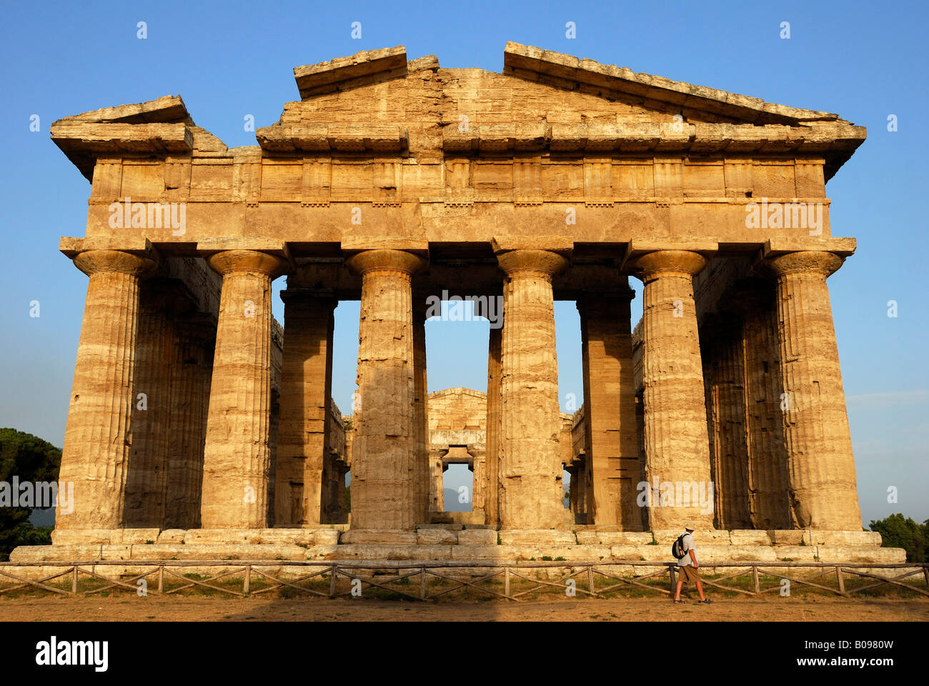 Ruins of Greco-Roman architecture, Paestum, Province of Salerno, Campania, Southern Italy - Stock Image