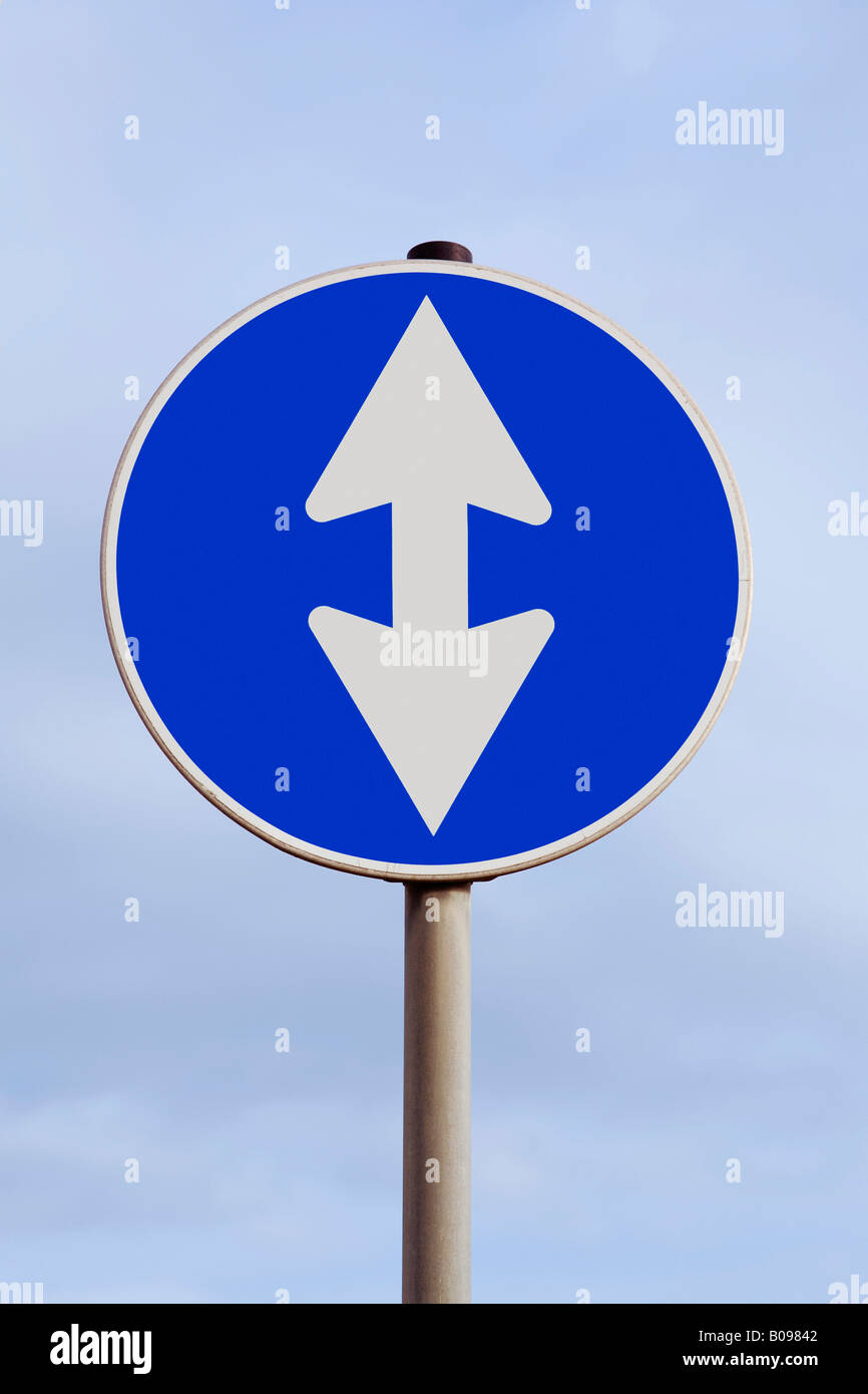 Traffic with a double arrow pointing up and down, upward and downward, climb and descent, highs and lows Stock Photo