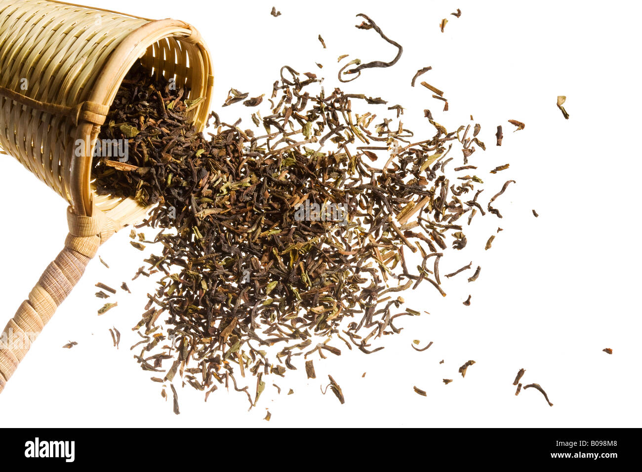An scooper full of raw tea overflowing. - Stock Image