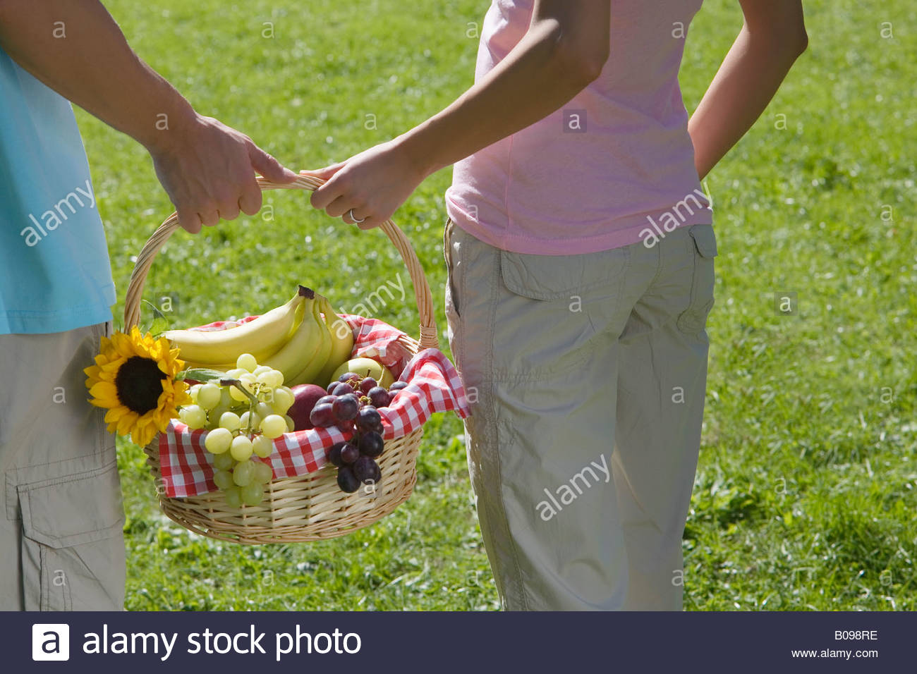 Young couple in park, carrying picnic basket full with fruit, rear view - Stock Image