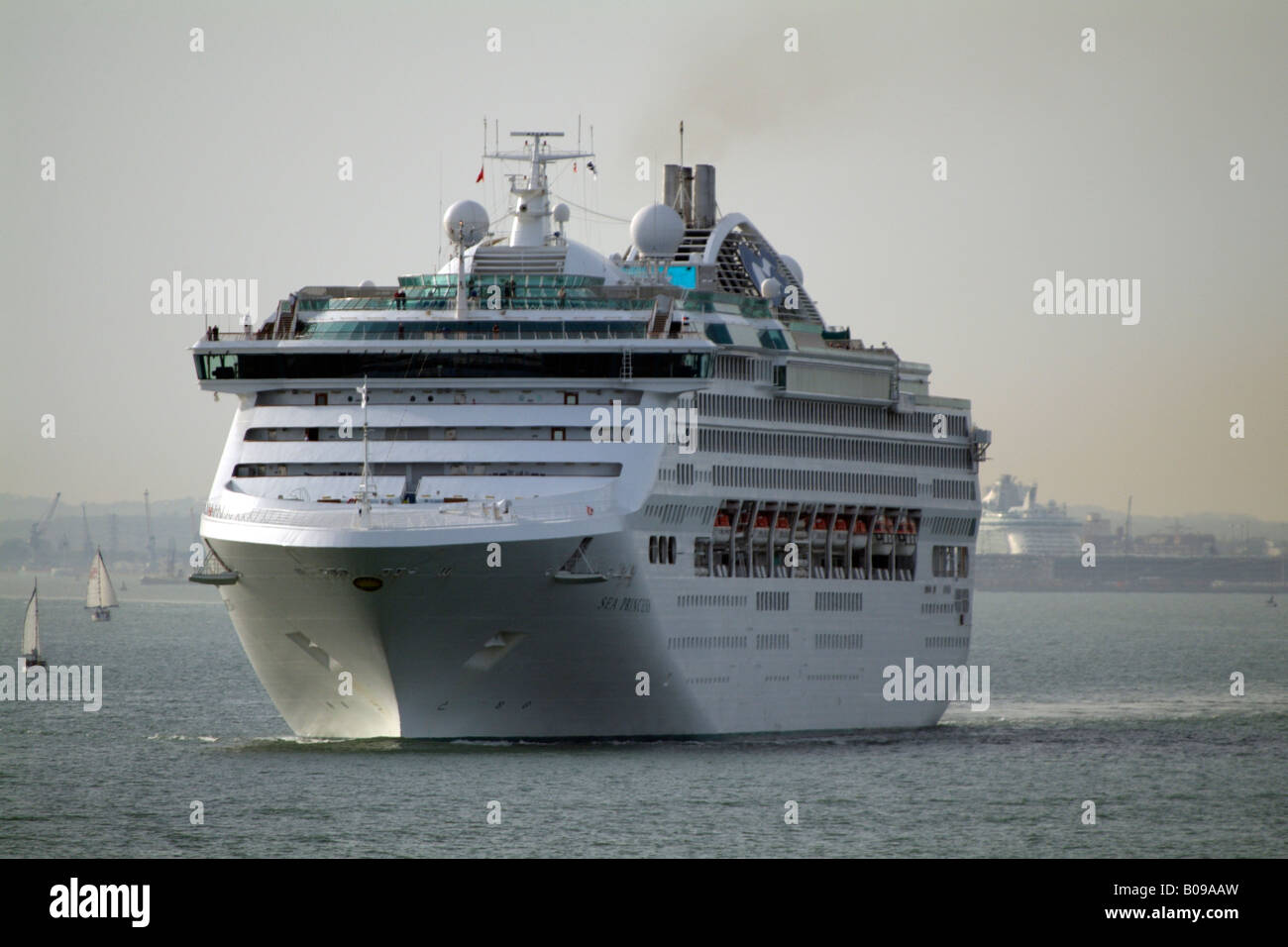 The Sea Princess Cruise Ship Outbound from Southampton England UK Underway on Southampton Water in evening light - Stock Image