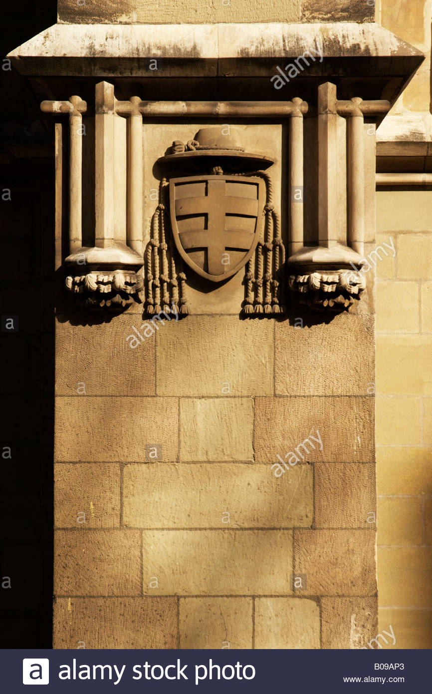Coat of arms - detail on a wall of a building in Geneva old town next to St Pierre cathedral - Stock Image