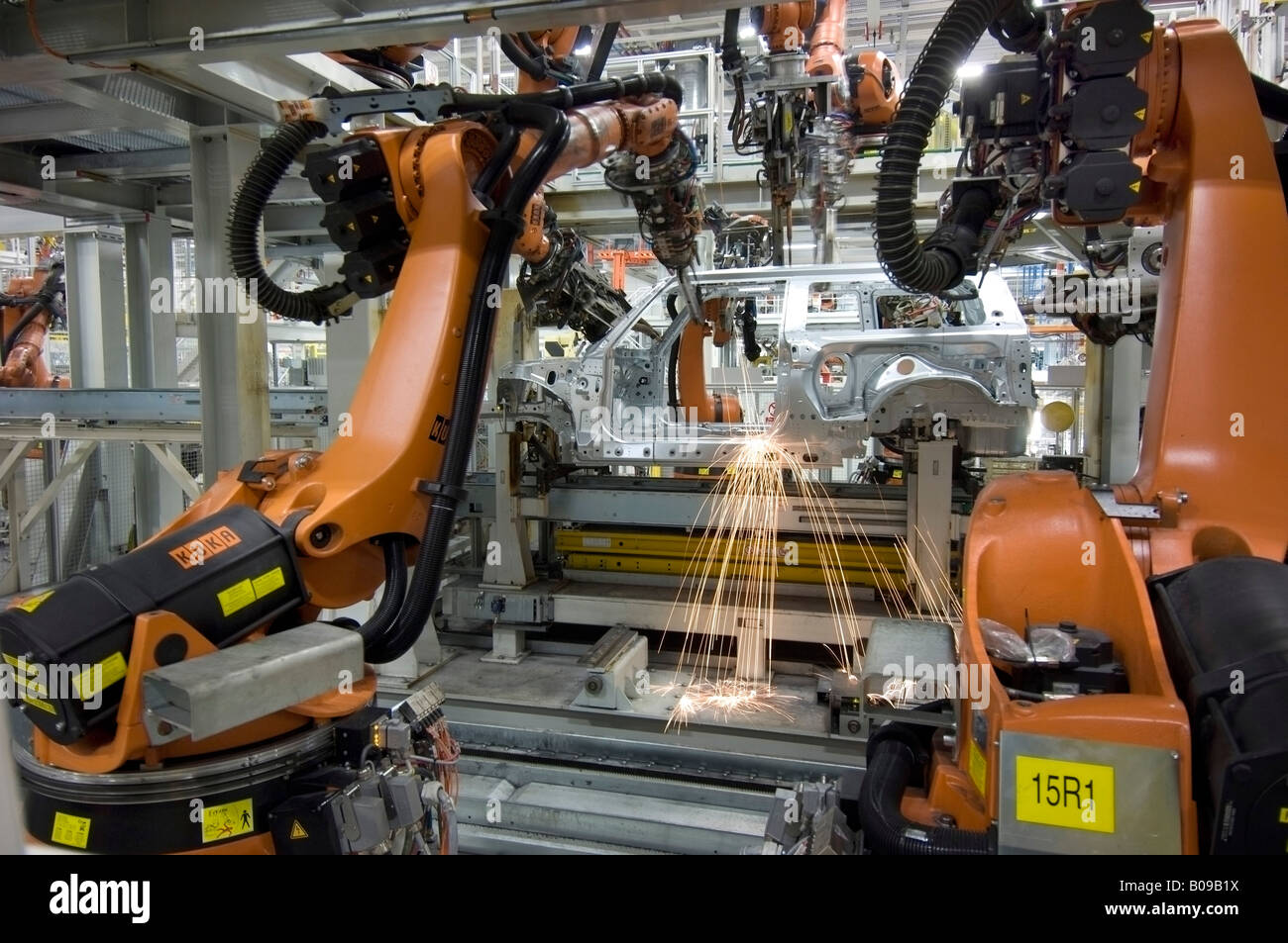 Mini Clubman production line at the BMW factory at Cowley, Oxford UK - Stock Image