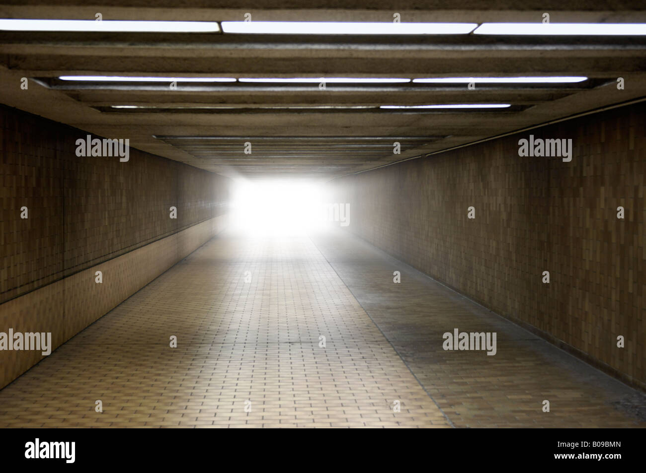 Light at the end of a tunnel - Stock Image