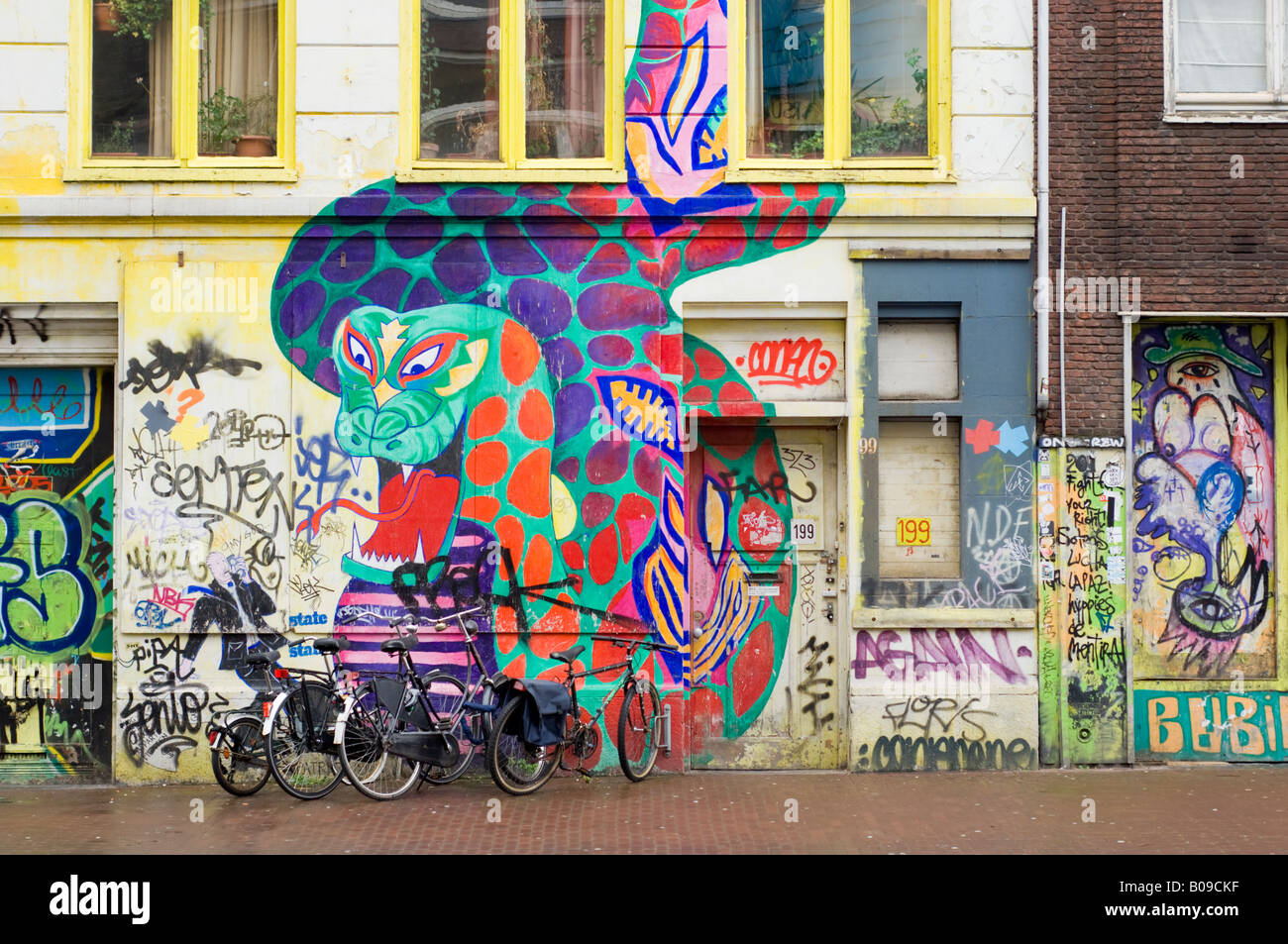 Amsterdam Painted Dragon Wall Murals On A Squat Bar Called The