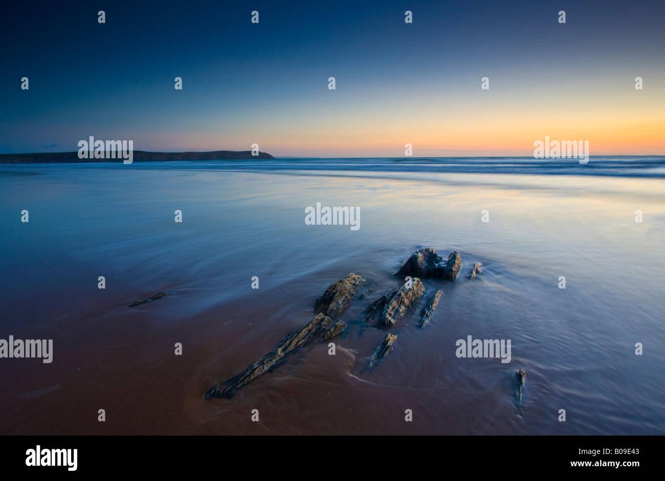 Sunset on Woolacombe beach Devon UK Stock Photo