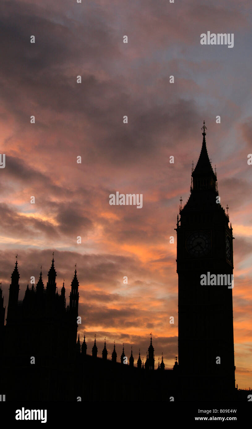 Big Ben and the Houses of Parliament, Westminster, London, England - Stock Image